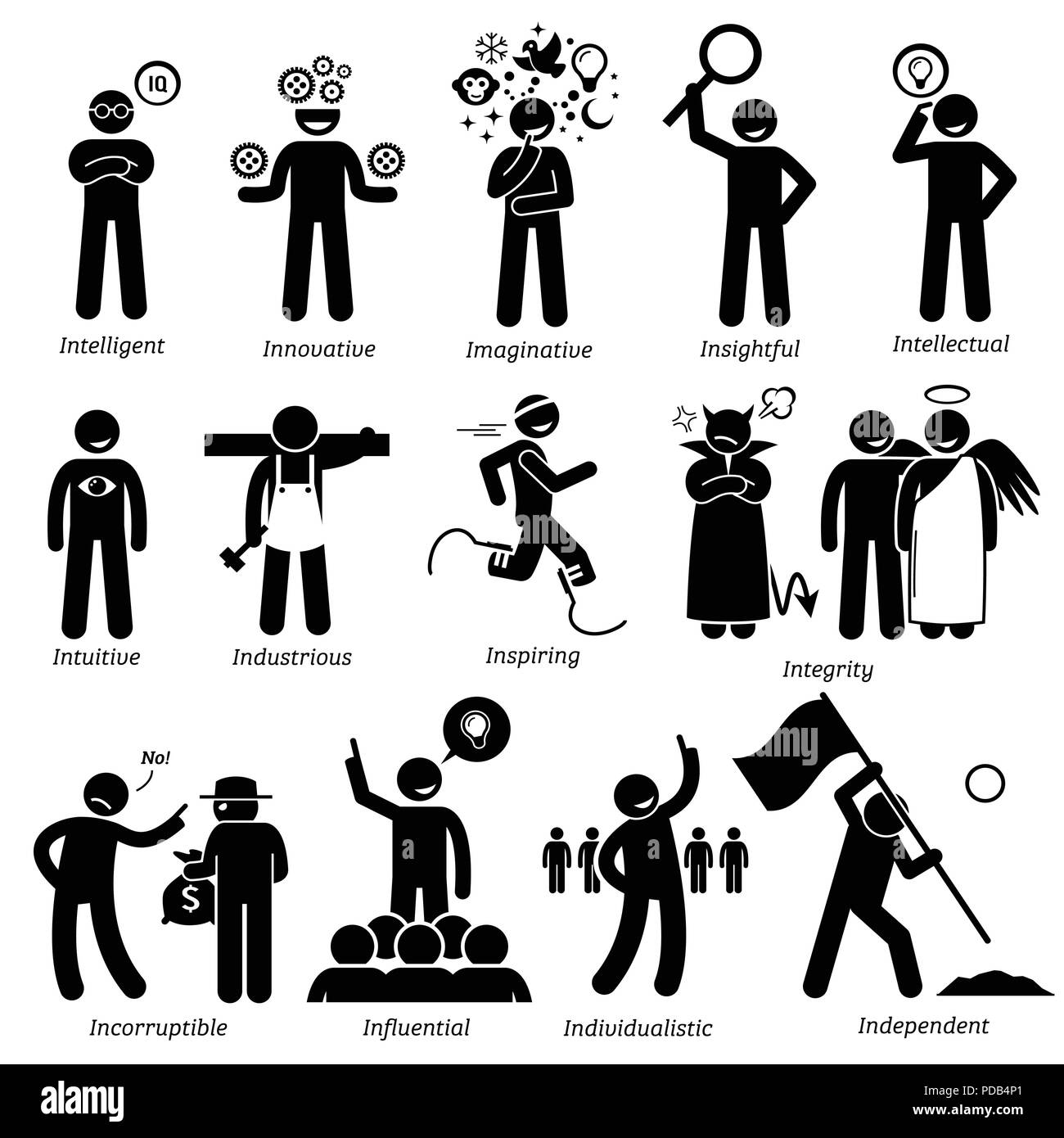 Positive Personalities Character Traits. Stick Figures Man Icons. Starting with the Alphabet I. - Stock Image