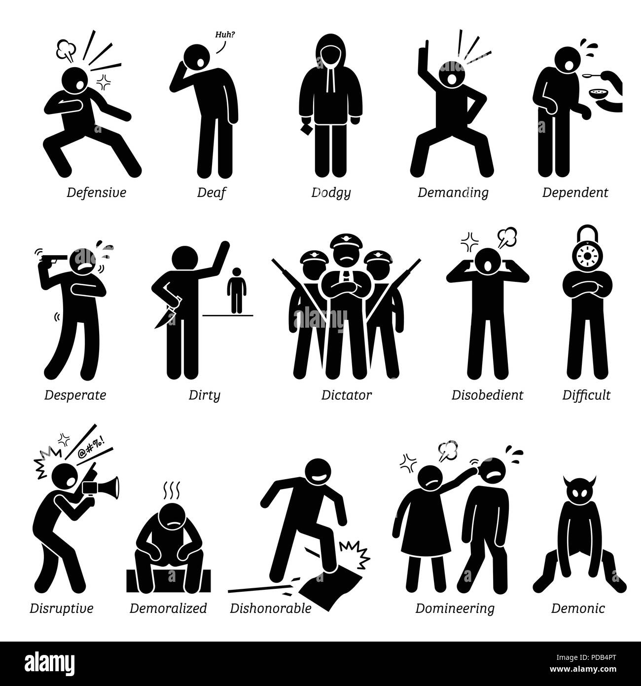 Negative Personalities Character Traits. Stick Figures Man Icons. Starting with the Alphabet D. - Stock Image