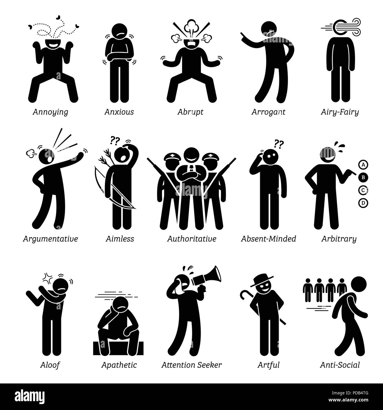 Negative Bad Personalities Character Traits. Stick Figures Man Icons. Starting with the Alphabet A. - Stock Vector