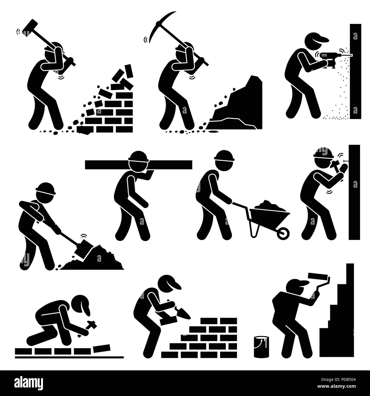 Builders Constructors Workers Building Houses With Tools And Equipment At Construction Site Stock Vector Image Art Alamy