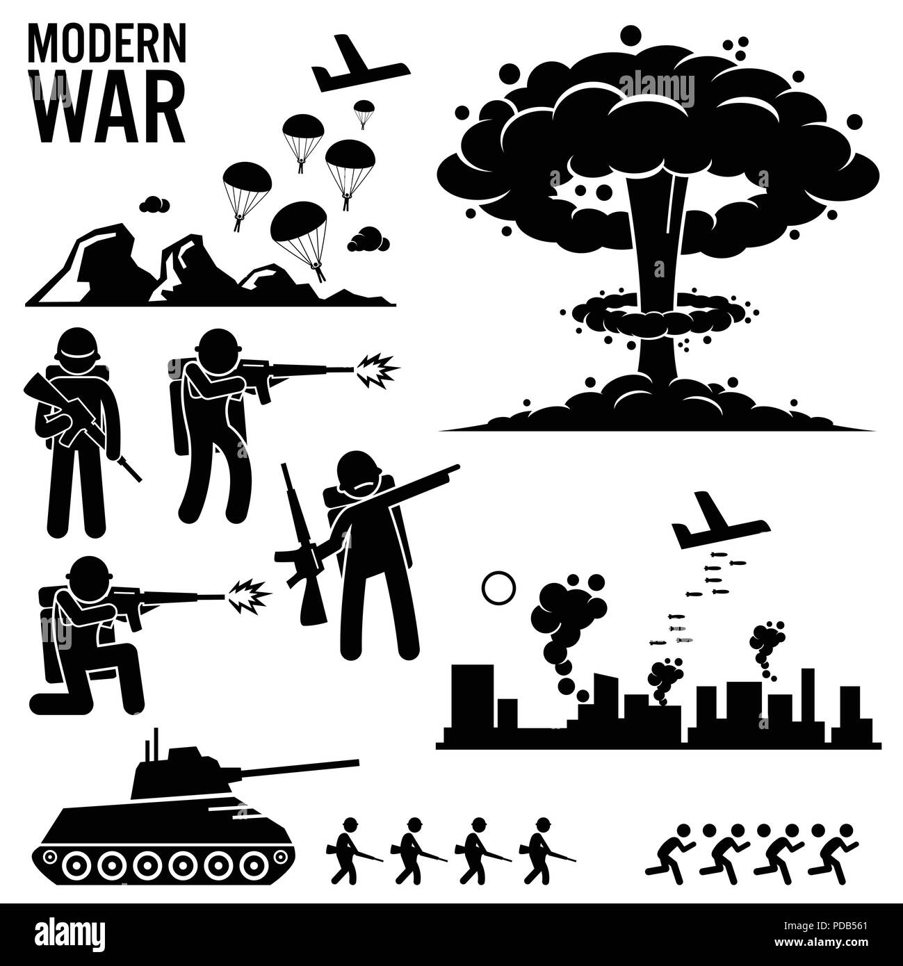 War Modern Warfare Nuclear Bomb Soldier Tank Attack Stick Figure Pictogram Icons - Stock Image