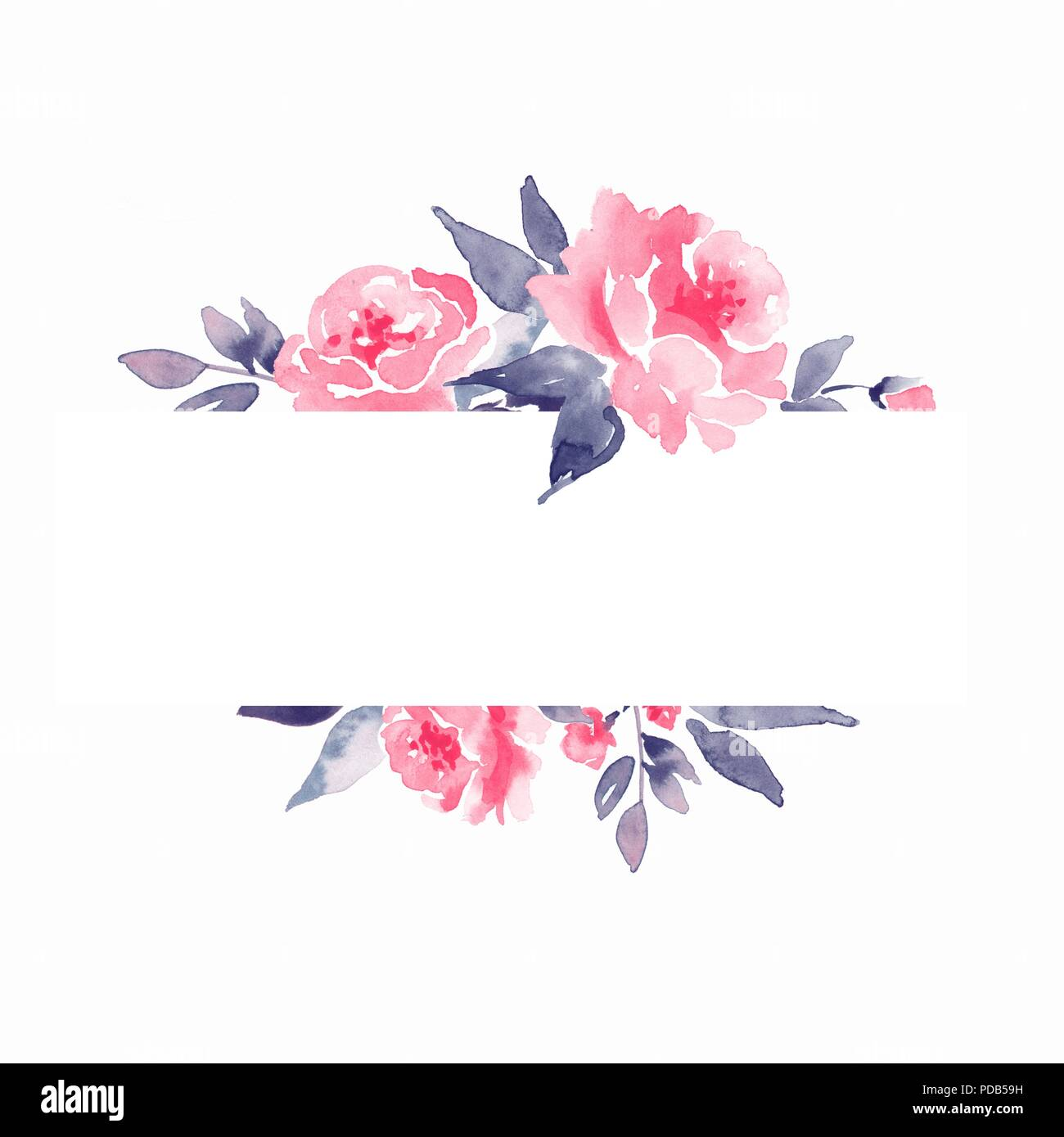 Watercolor Floral Frame Element For Design Background With