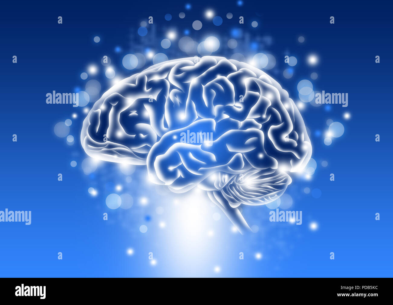 Human intelligence concept with sparkle and blue background - Stock Image