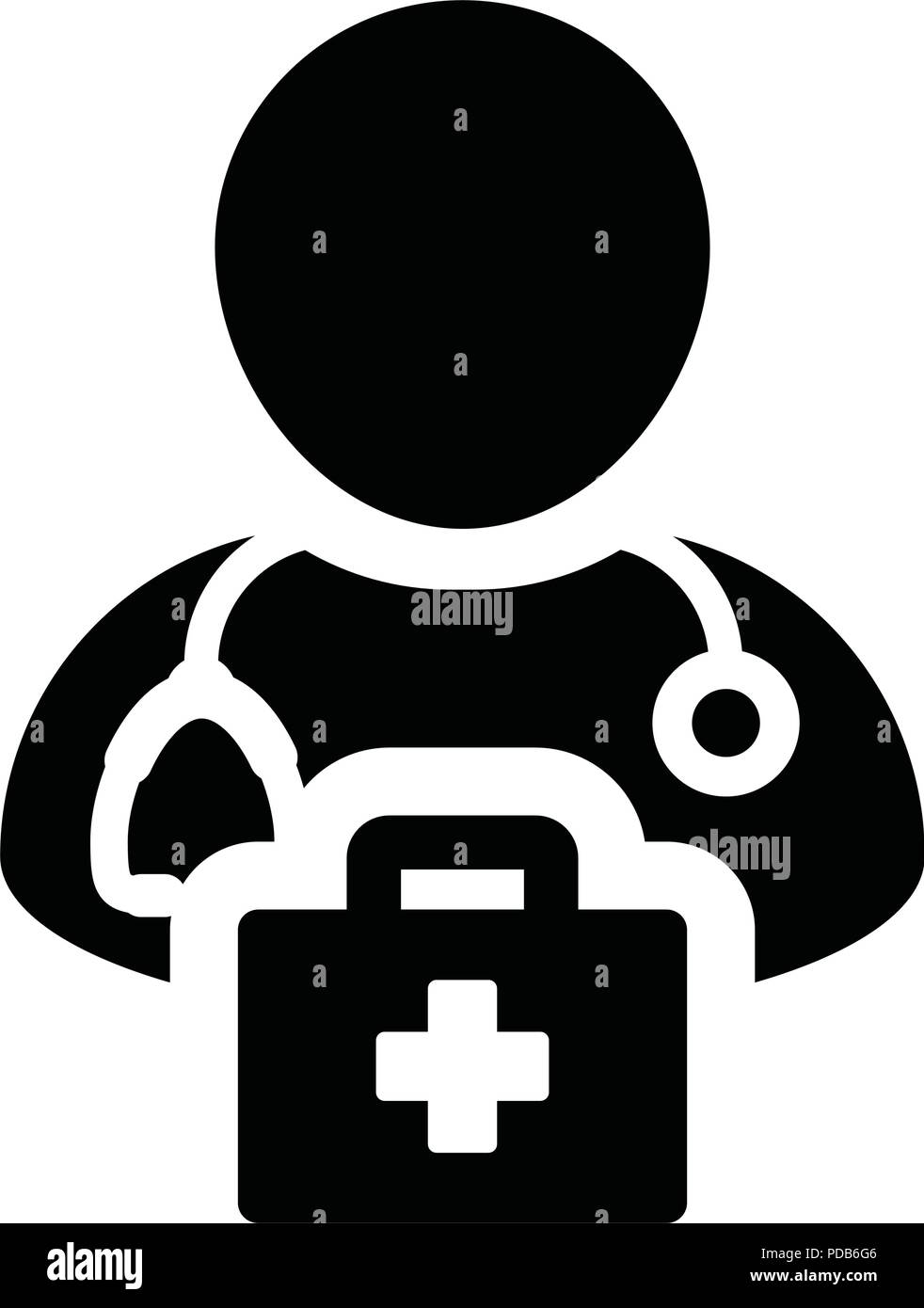 Nurse icon vector male person profile avatar with Stethoscope and