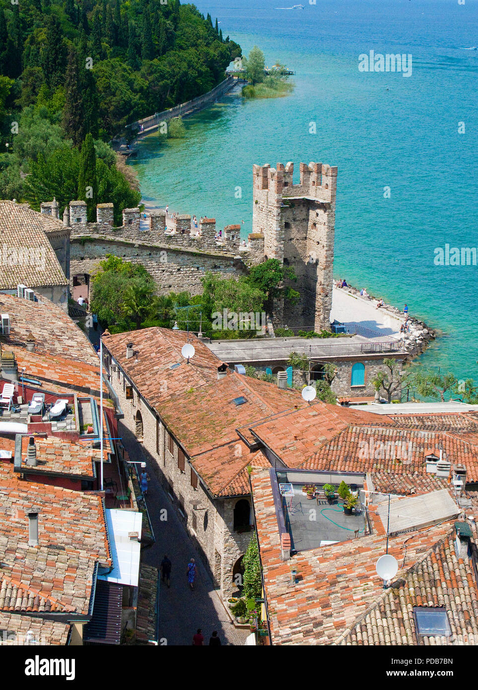 View from Scaliger castle on the old town of Sirmione and Lake Garda, Lombardy, Italy - Stock Image