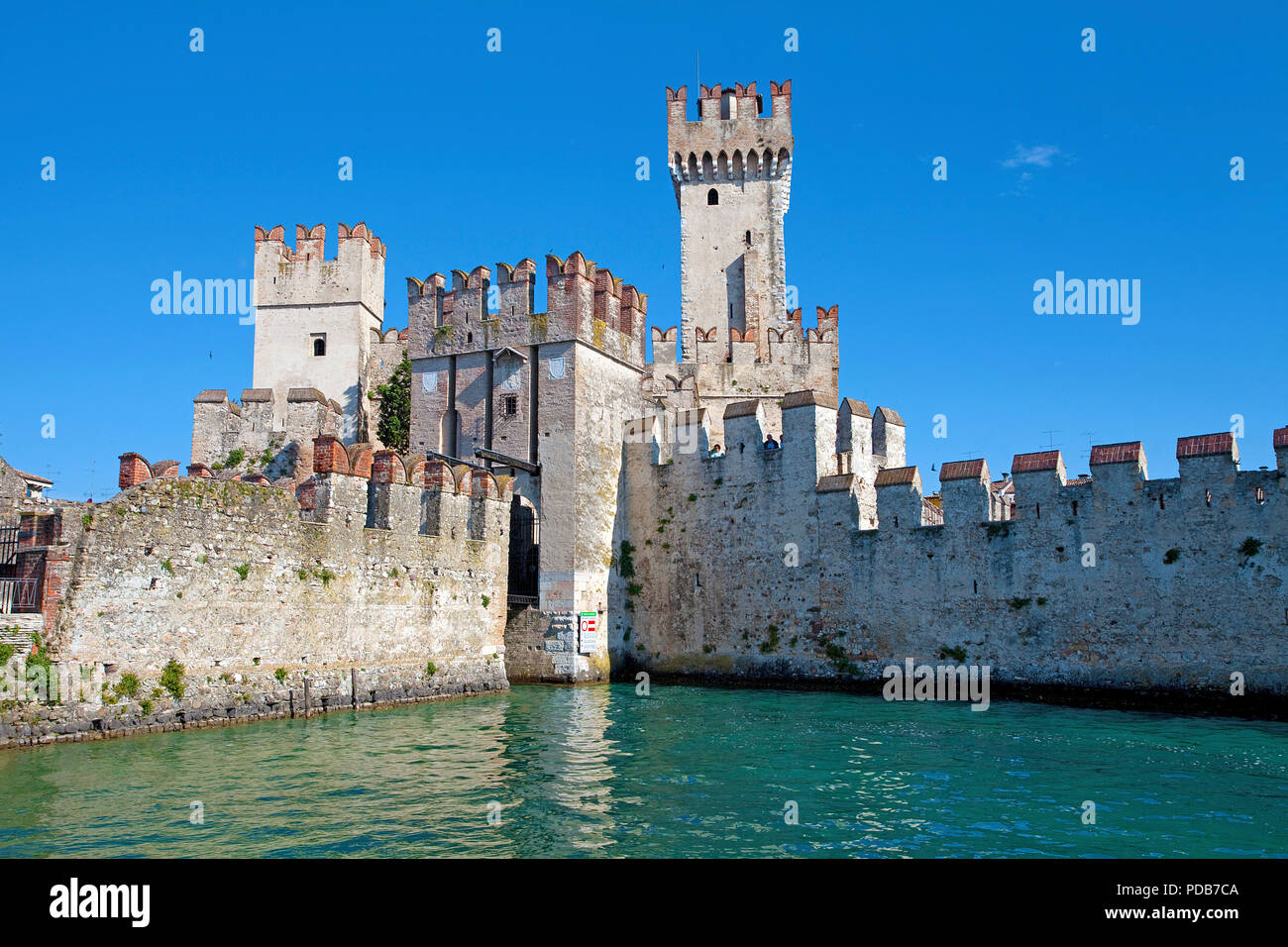 Scaliger castle, landmark of Sirmione, Lake Garda, Lombardy, Italy - Stock Image