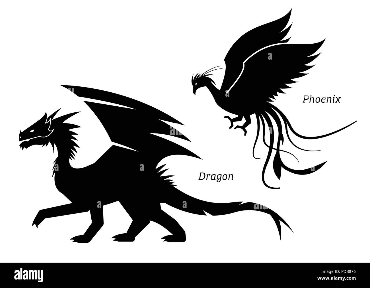 Dragon and phoenix side view pictogram. - Stock Vector
