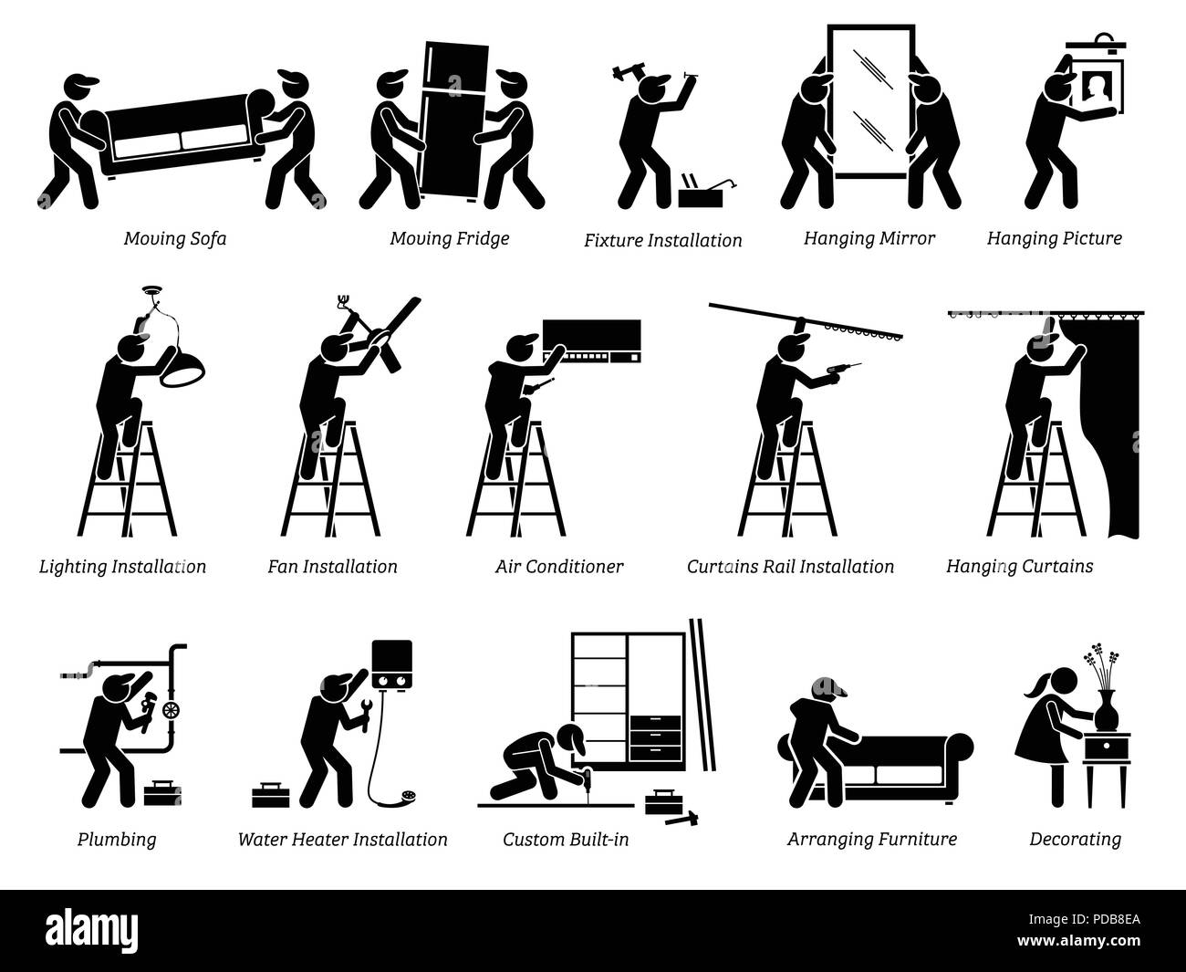 Installation of Home Fixtures and House Decorations Icons. Pictogram depicts installing home fixtures, moving furnitures, and decorating living space. - Stock Image