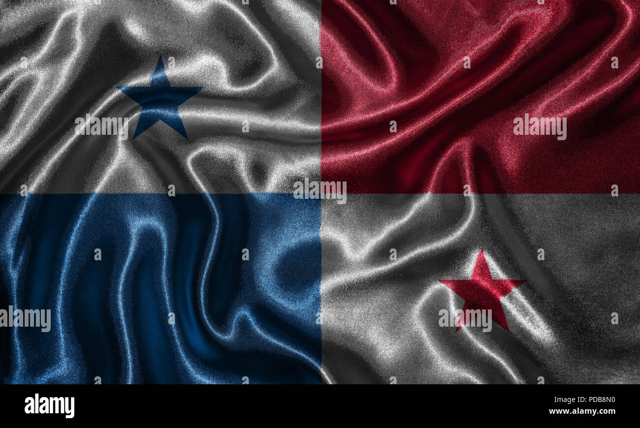 Panama flag - Fabric flag of Panama country, Background and wallpaper of waving flag by textile.