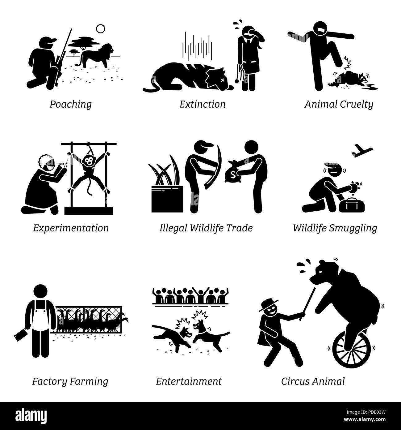 Animal Rights and Issues Stick Figure Pictogram Icons. - Stock Vector