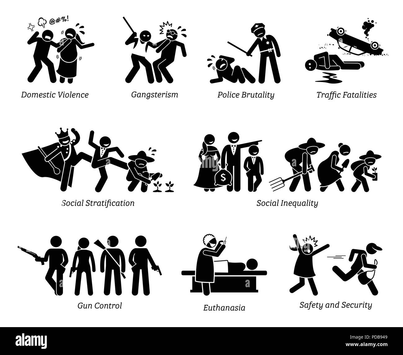 Social Problems and Critical Issues Stick Figure Pictogram Icons. - Stock Vector