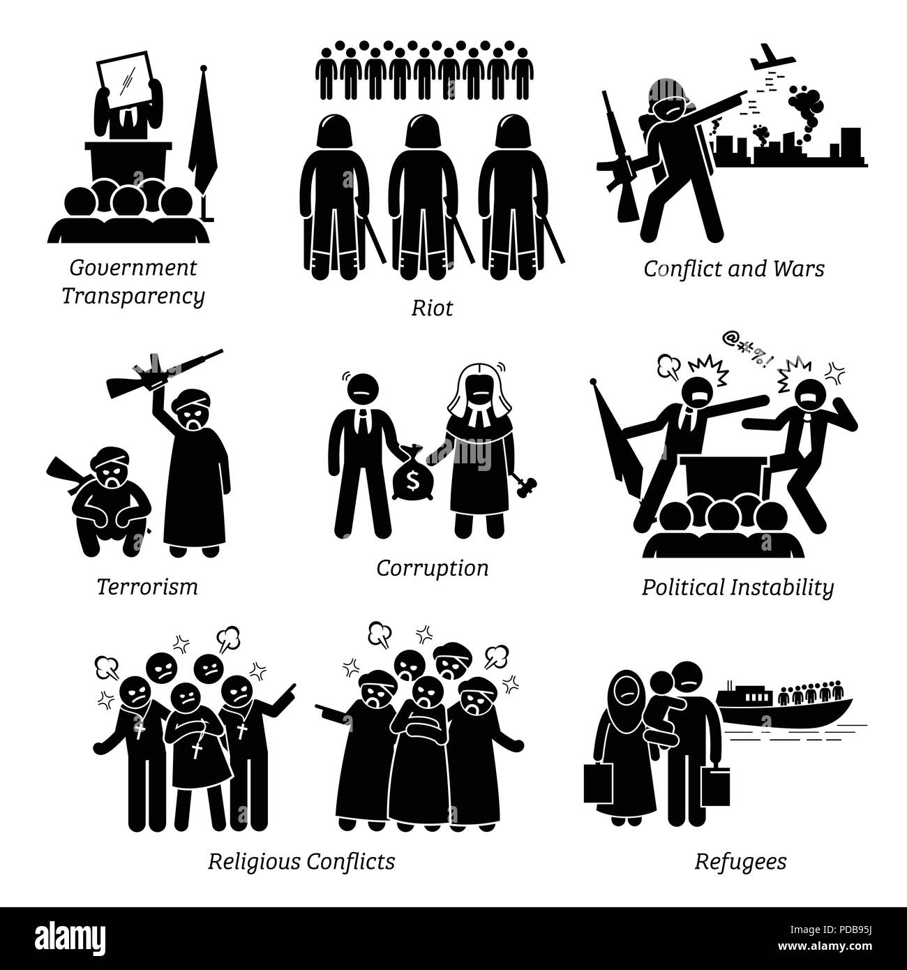 Social Issues World Problems Pictogram Icons. - Stock Vector