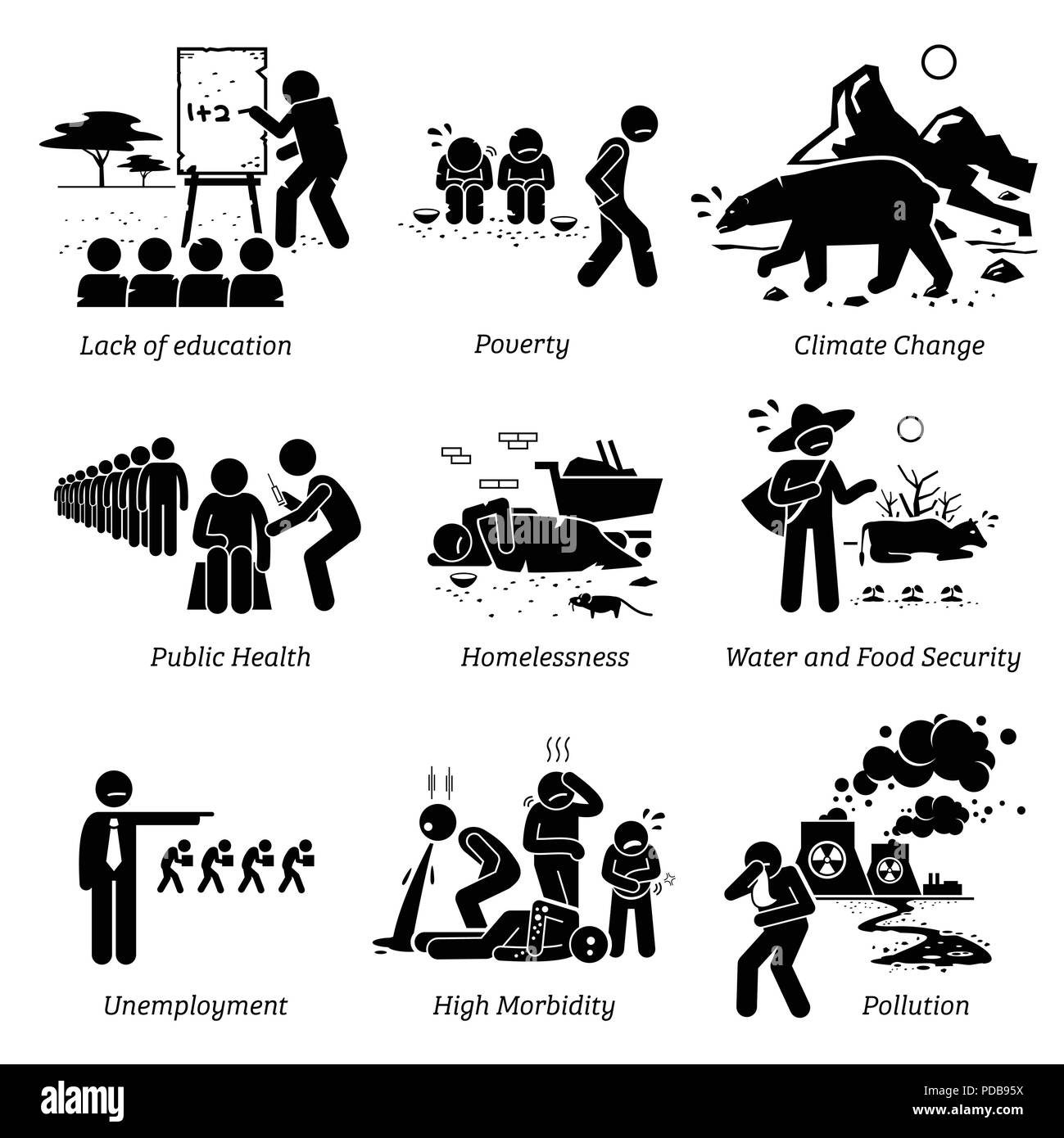 Social Issues and Critical Problems Pictogram Icons. - Stock Vector