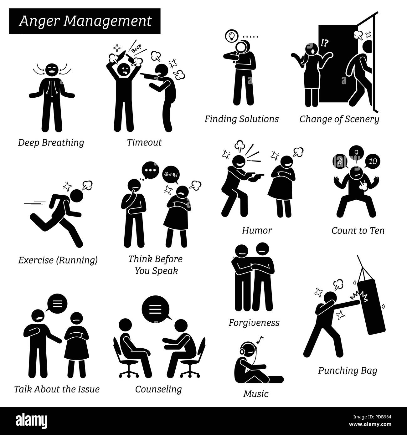 Anger Management Stick Figure Pictogram Icons. Stock Vector