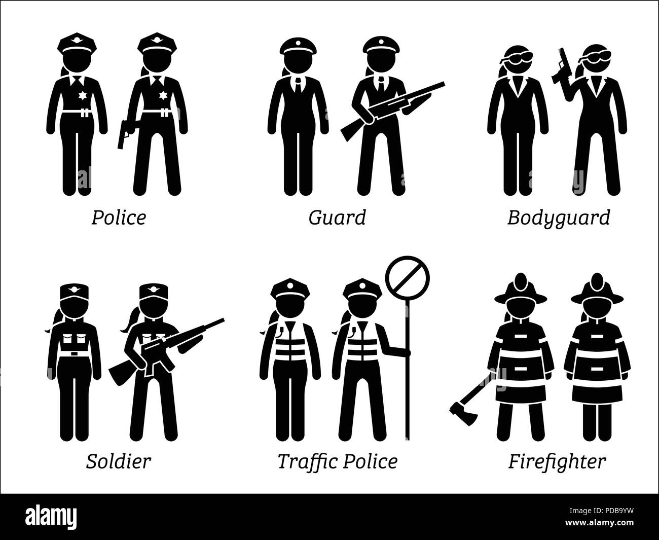 Public Safety Jobs and Occupations for Women. Stock Vector