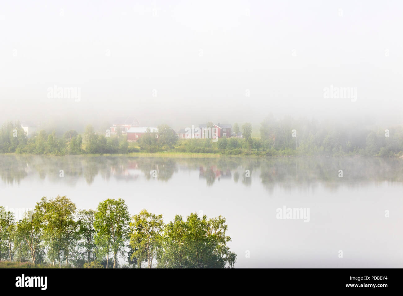 Farm by a river a foggy morning - Stock Image
