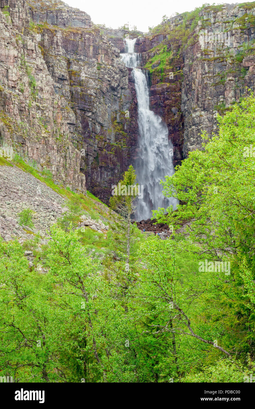 High waterfall in the swedish mountains - Stock Image