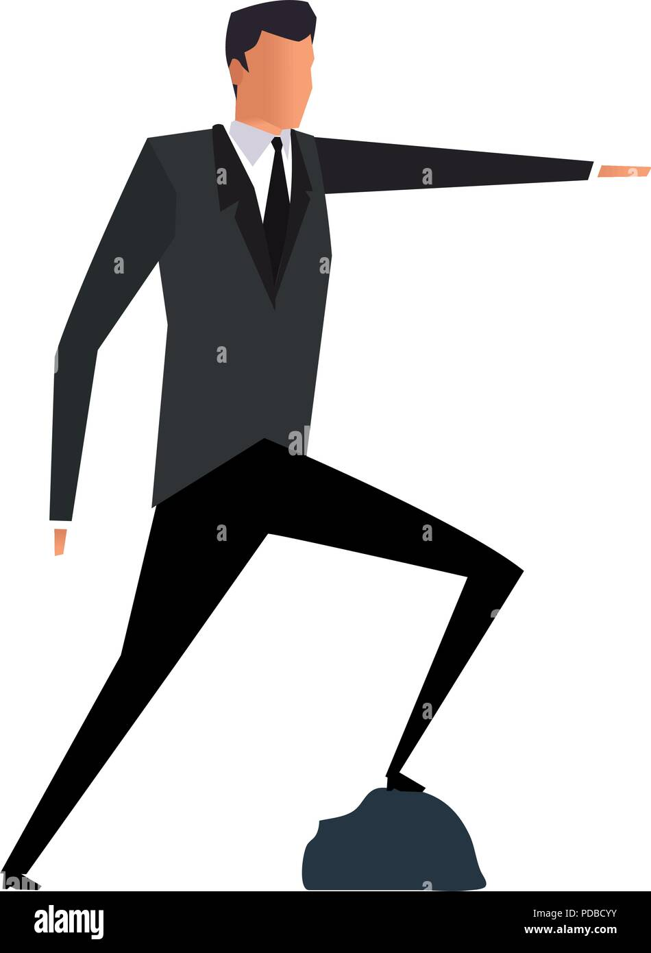 Businessman with feet on rock pinting with hand - Stock Vector