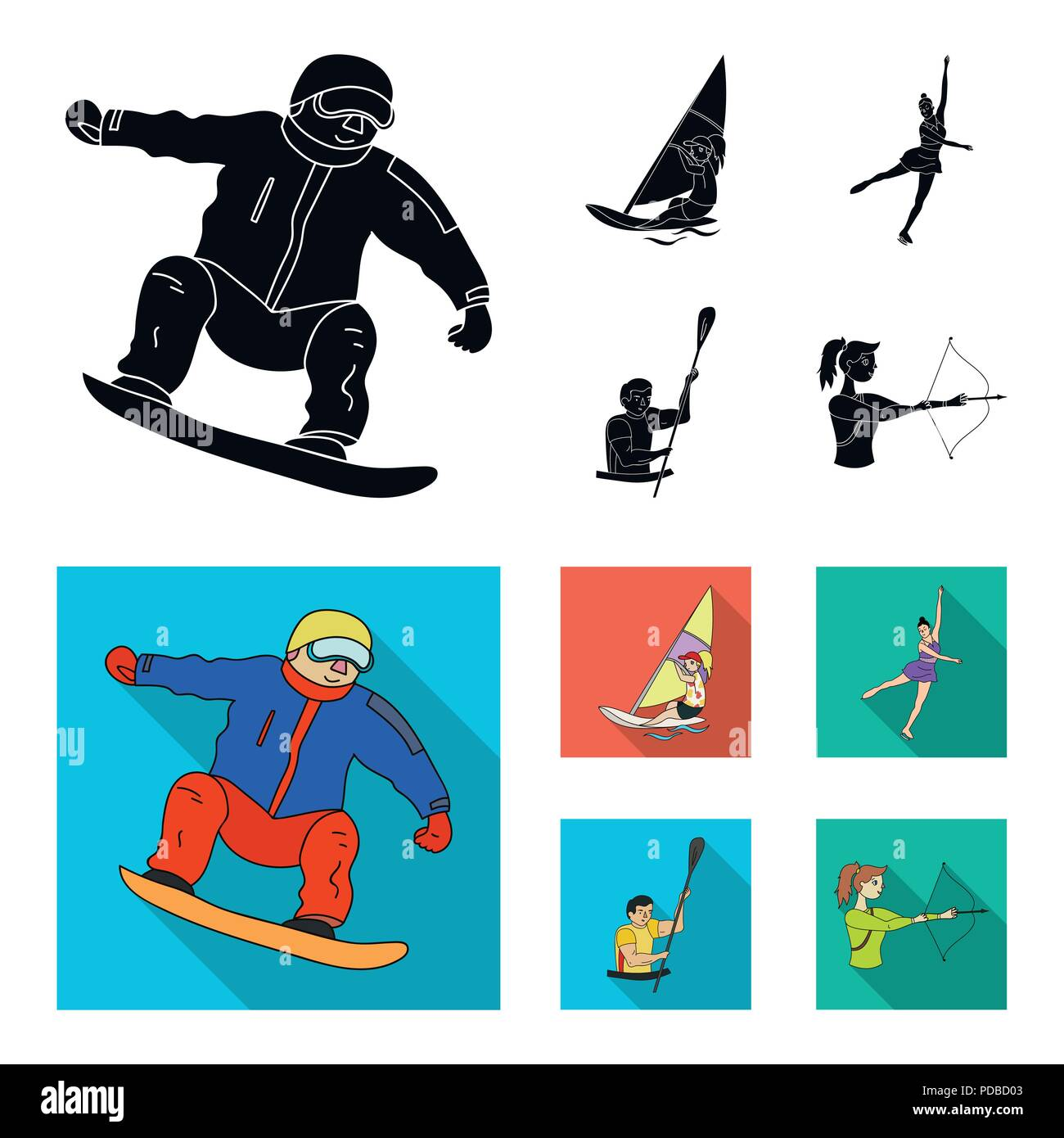 Snowboarding, sailing surfing, figure skating, kayaking. Olympic sports set collection icons in black, flat style vector symbol stock illustration . - Stock Vector
