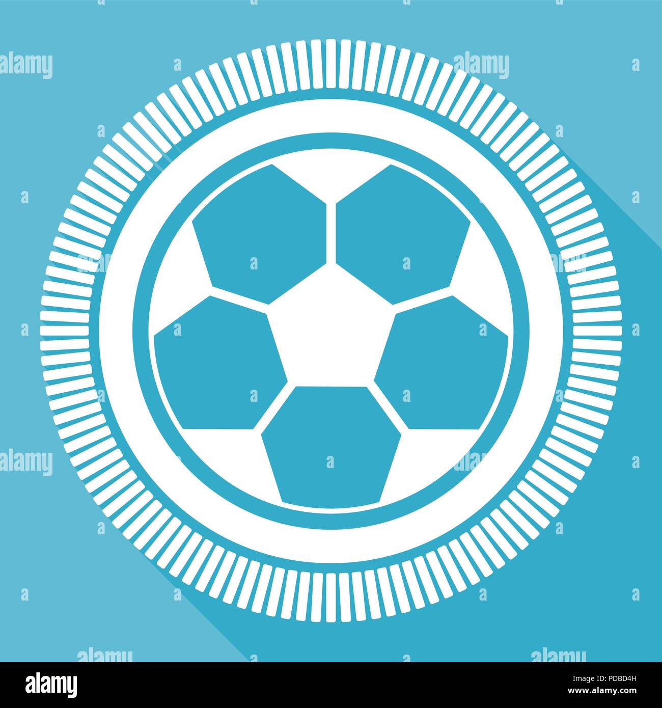 Soccer editable flat vector icon, football square web button, blue computer and smartphone application sign in eps 10 - Stock Vector