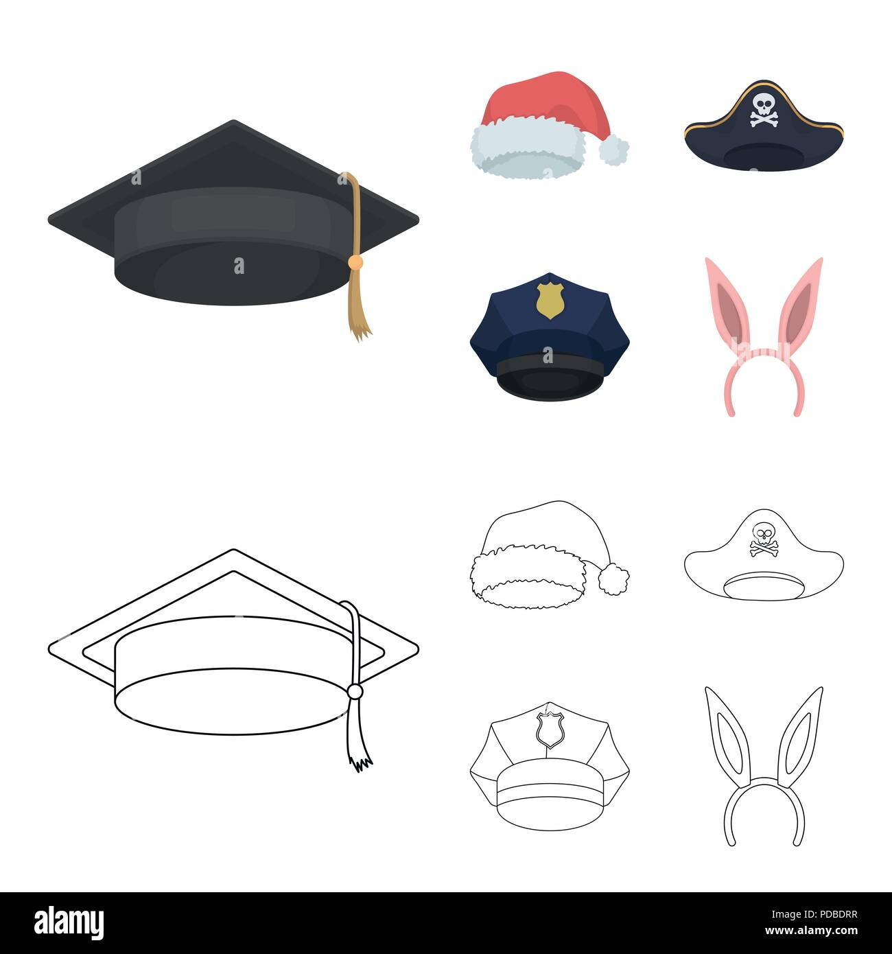 a15658d6353 Graduate, santa, police, pirate. Hats set collection icons in ...