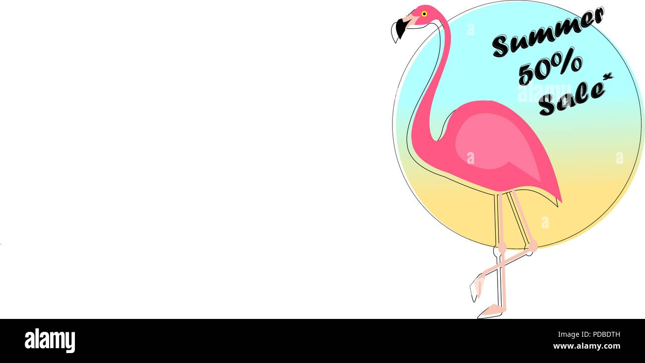 Summer Sale Banner With Paper Cut Flamingo Exotic Floral Design For