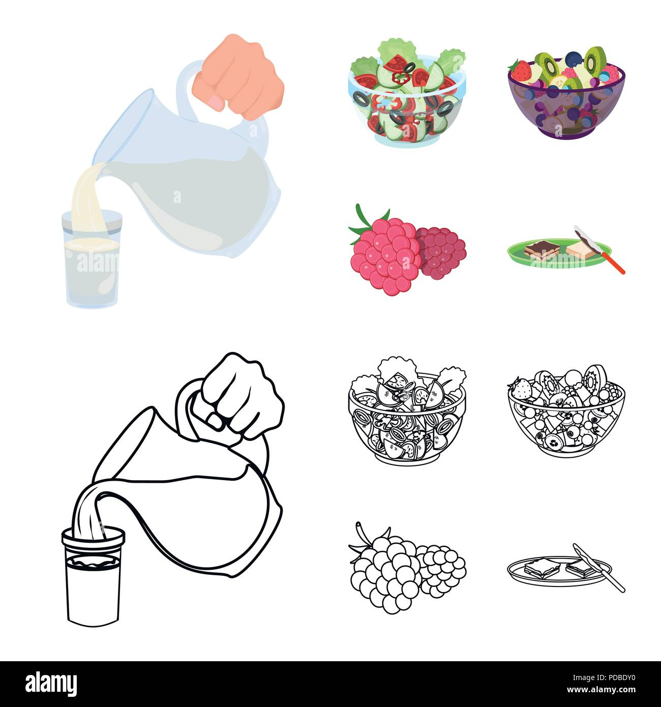 Fruit, vegetable salad and other types of food. Food set collection icons in cartoon,outline style vector symbol stock illustration . - Stock Vector