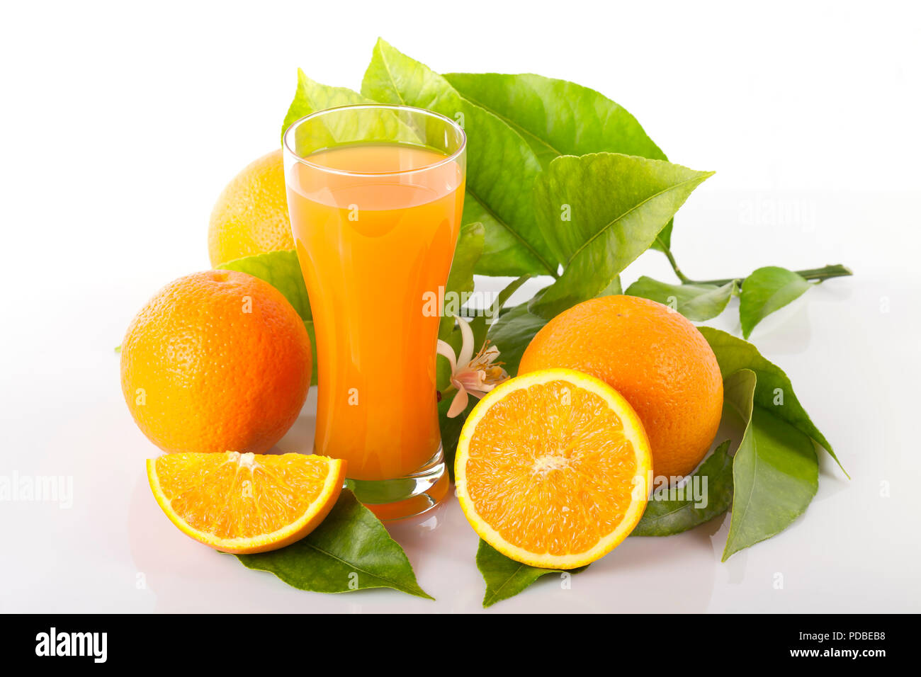 Oranges and orange tree leaves next to a glass full of orange juice isolated on white. - Stock Image
