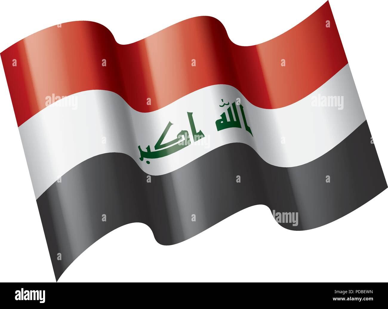 Iraqi flag, vector illustration on a white background - Stock Image