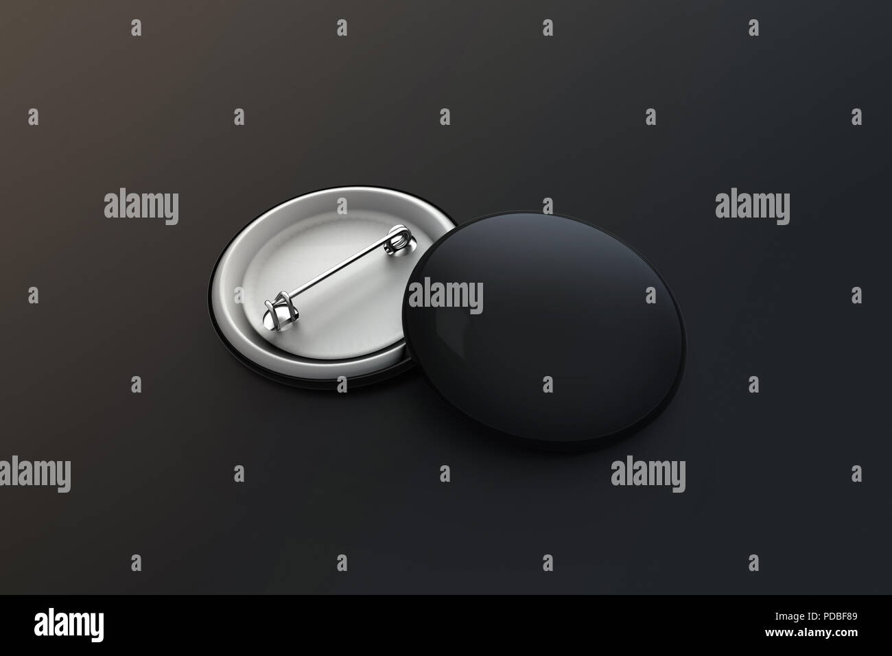 Blank black button badge stack mock up, clipping path, 3d rendering