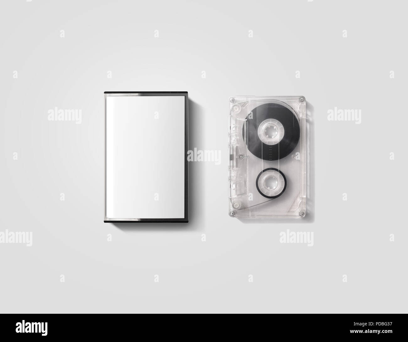 Blank cassette tape box design mockup, isolated, clipping path. Vintage cassete tape case with retro casset mock up. Plastic analog magnetic tape casete clear packaging template. Mixtape box cover. - Stock Image