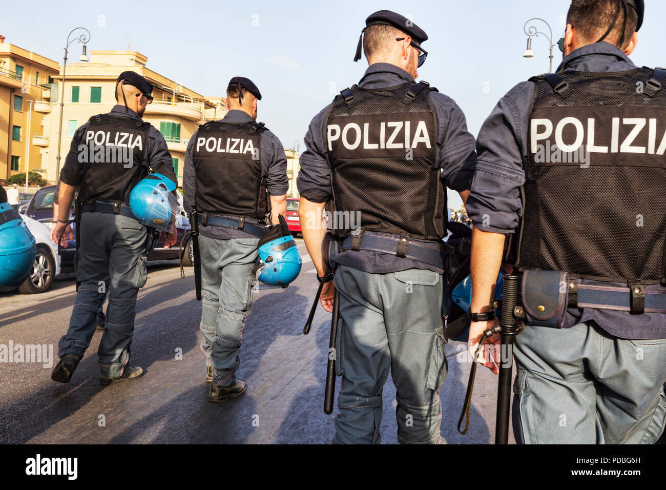 Rome,Italy - July 14, 2018:Group of police agents controls the unfolding of the Lazio Pride event.It s event for the rights, protection and pride of L - Stock Image