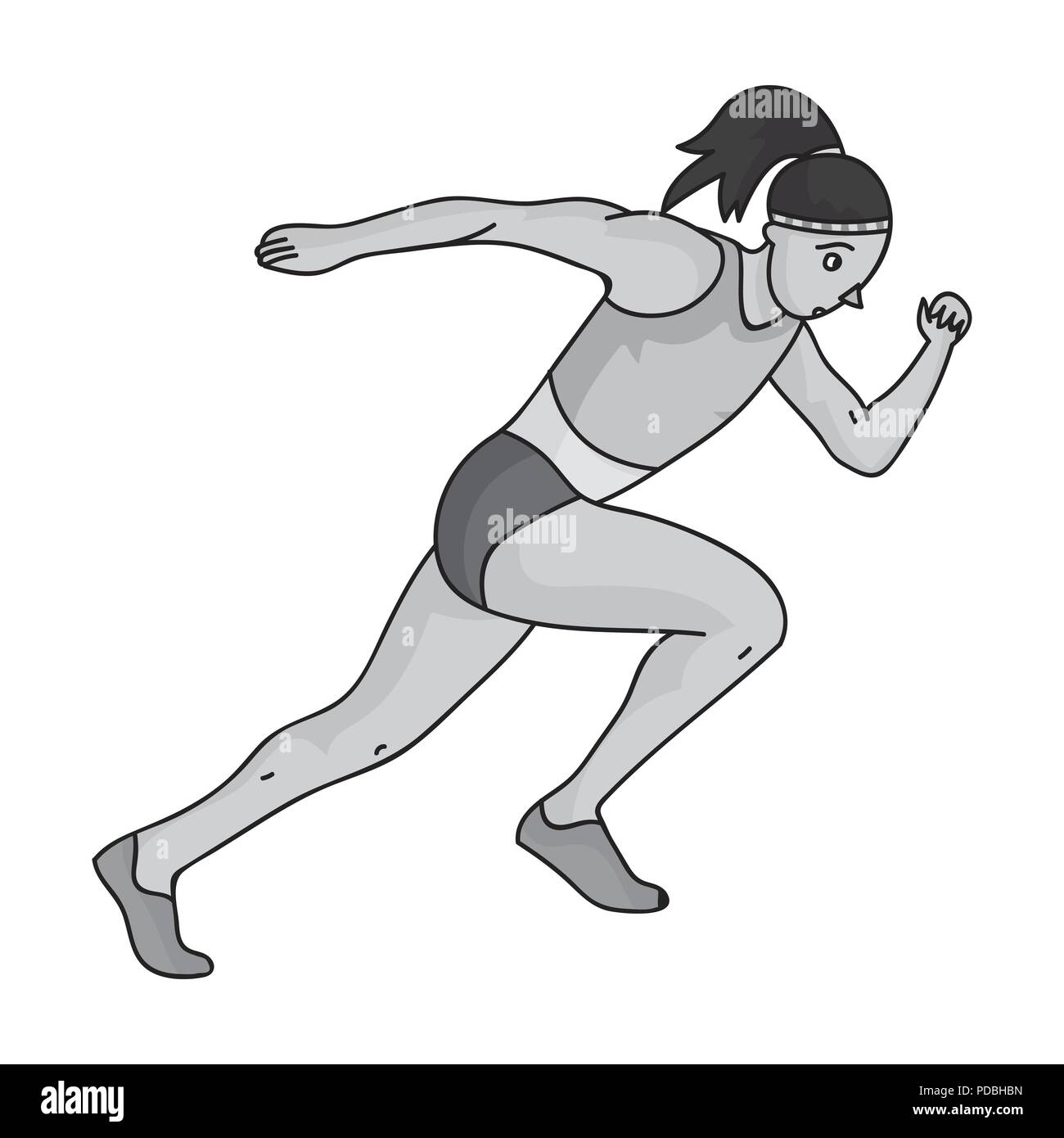 The girl is engaged in athletics.The Olympics in athletics.Olympic sports single icon in monochrome style vector symbol stock web illustration. - Stock Vector
