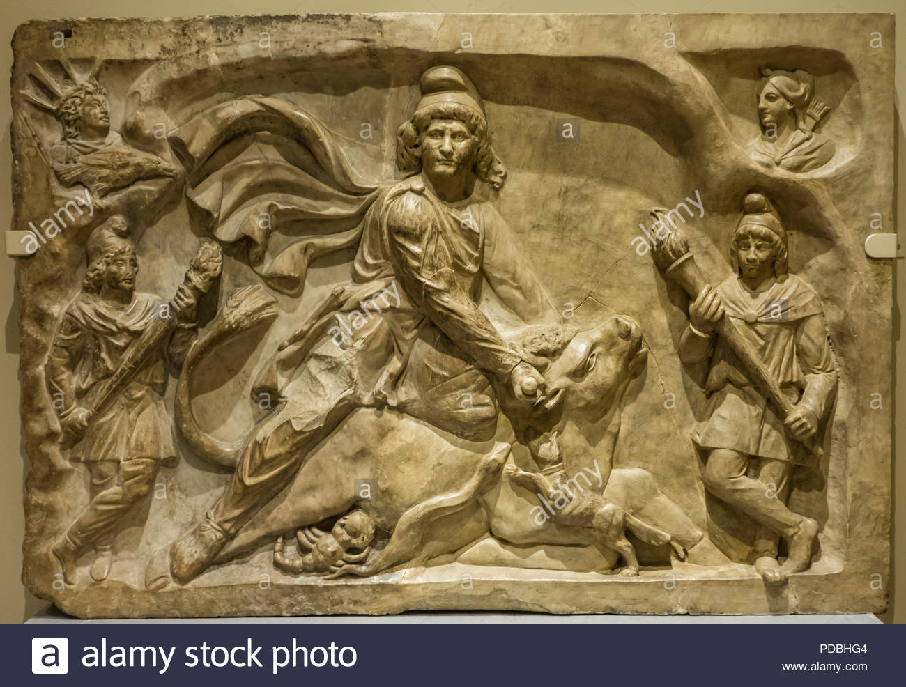 Persian god Mithras Roman cult slaying of mystic bull triumph of good over evil at Royal Ontario Museum ROM in Toronto Ontario Canada - Stock Image