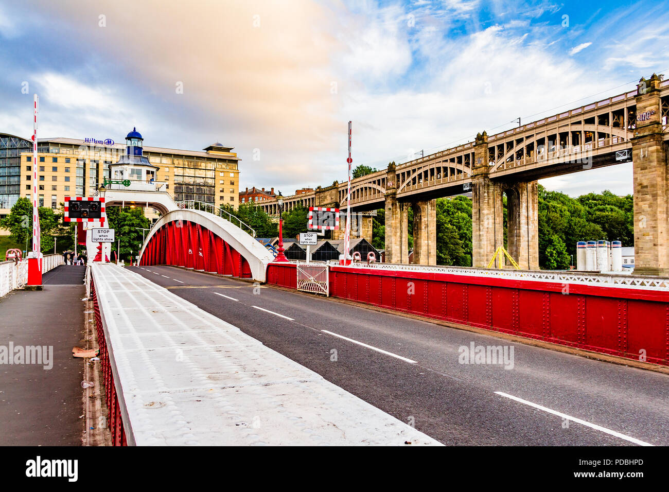 The hydraulic Swing Bridge built by William Armstrong in 1876, one of several bridges connecting Newcastle and Gateshead over the River Tyne, UK. - Stock Image