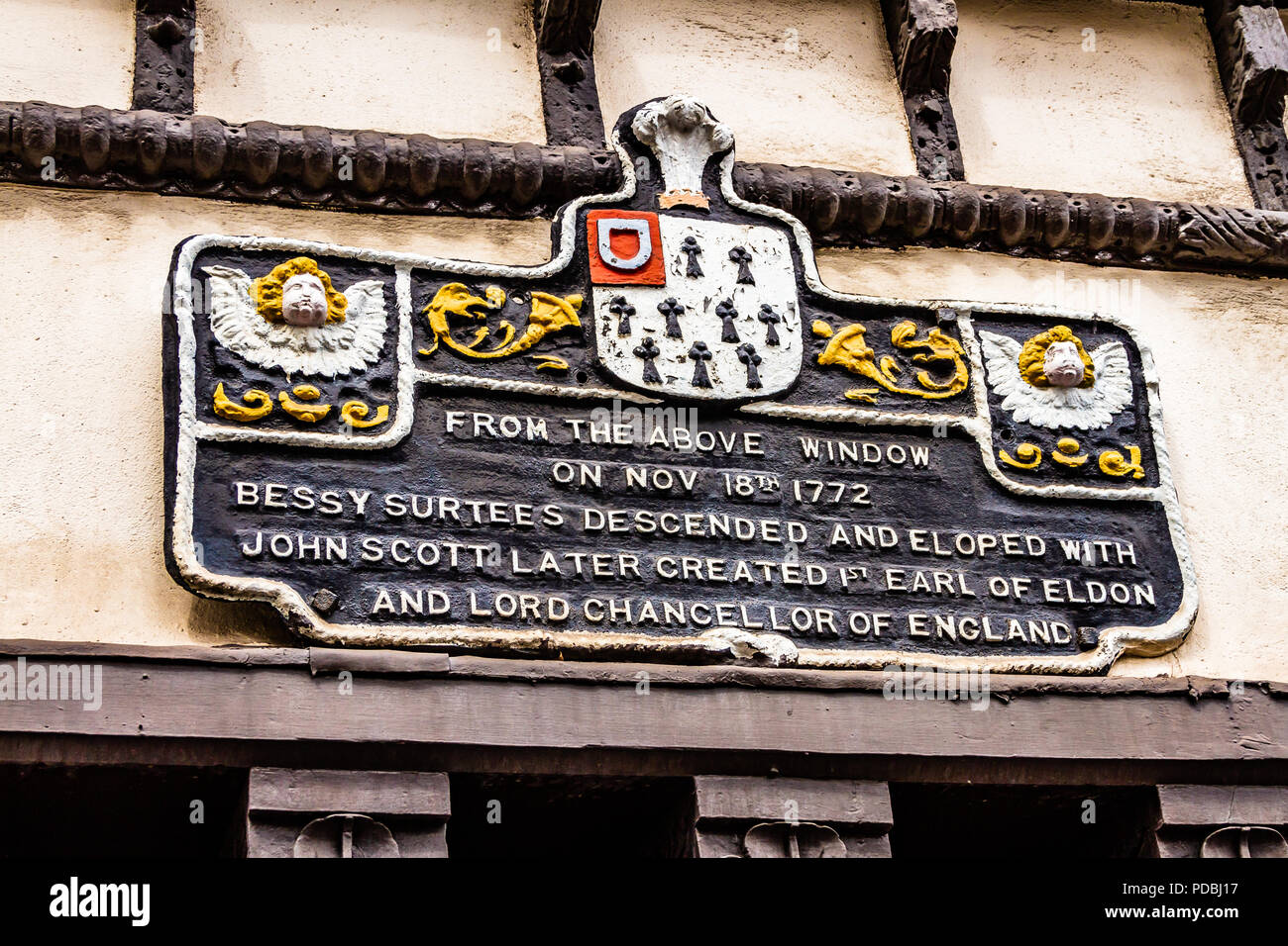 Plaque on the wall of Bessie Surtees' House, a Jacobean merchant's house in Newcastle open to the public. Sandhill, Newcastle, UK. - Stock Image