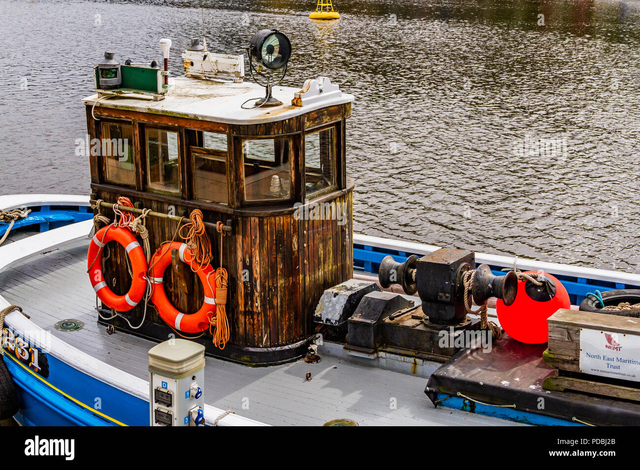 The wooden fishing vessel Rachel Douglas, built in 1947 to operate from Seahouses, now owned by the North East Maritime Trust and moored on the Tyne. Stock Photo