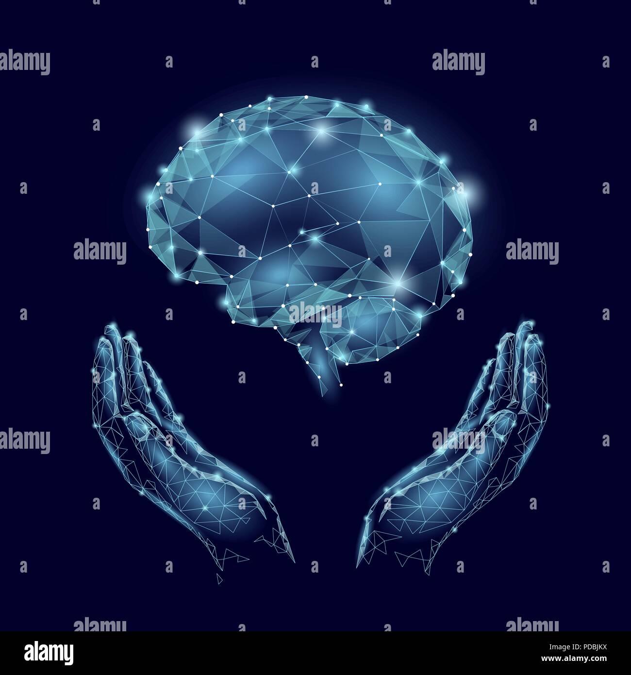 World Mental Health Day. Mood support drug therapy medical care. Sedative balance depression correction. Psychology disorder brain polygon medicine science banner vector illustration - Stock Image