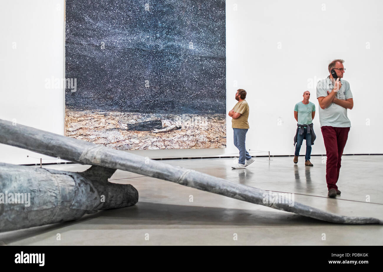 Sculpture `Berenice´. And painting `The renowned orders of the night´, both by Anselm Kiefer,  museum collection, Guggenheim Museum,  Bilbao, Spain - Stock Image