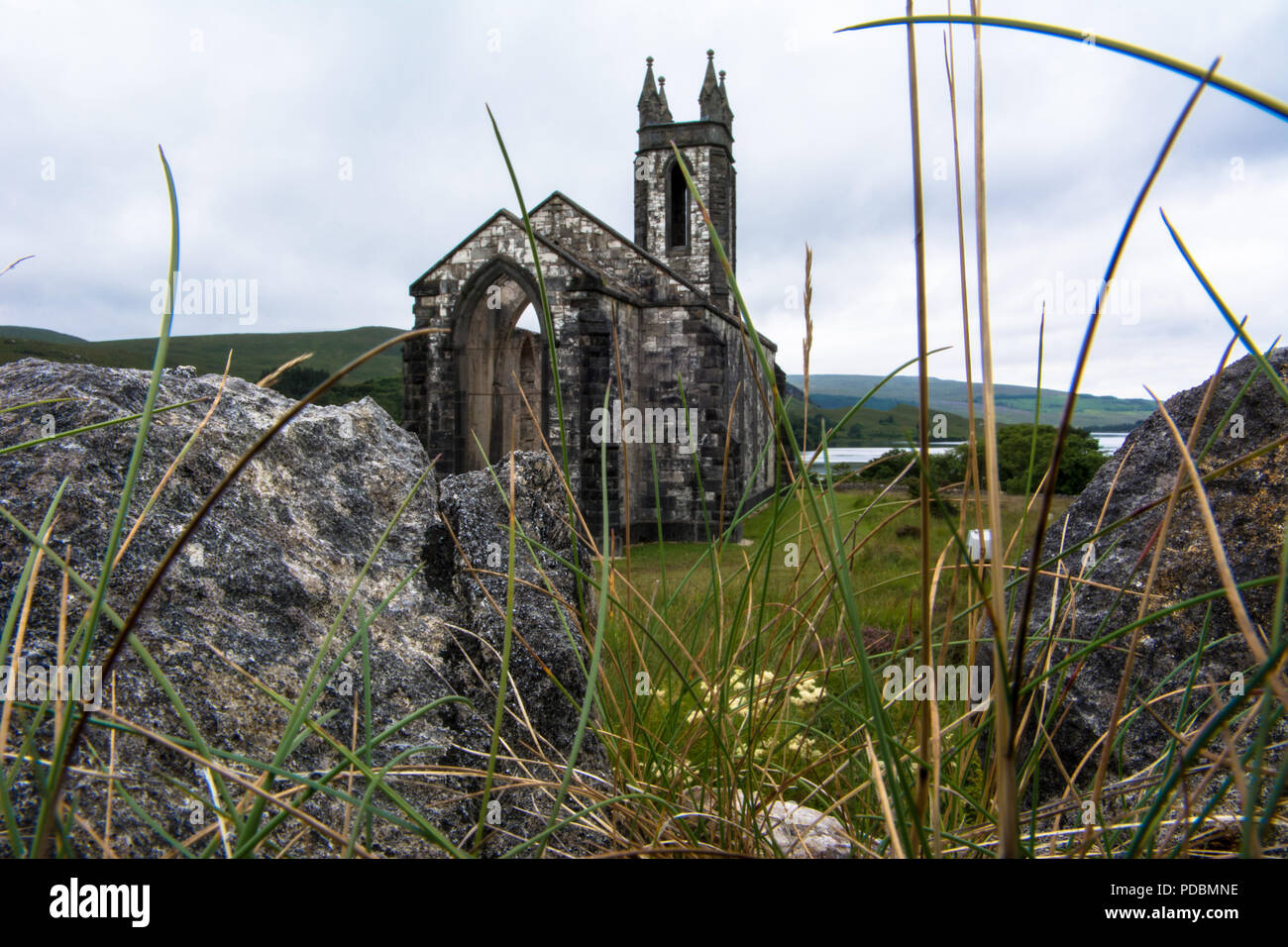 Ruined Church Dunlewey Gweedore The  Poisoned Glen Donegal Ireland - Stock Image