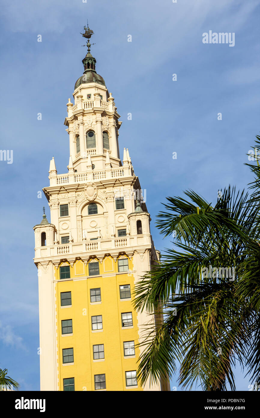 Miami Florida Biscayne Boulevard Freedom Tower architecture Spanish Renaissance Revival Schultze & Weaver built 1925 ornate Nati - Stock Image
