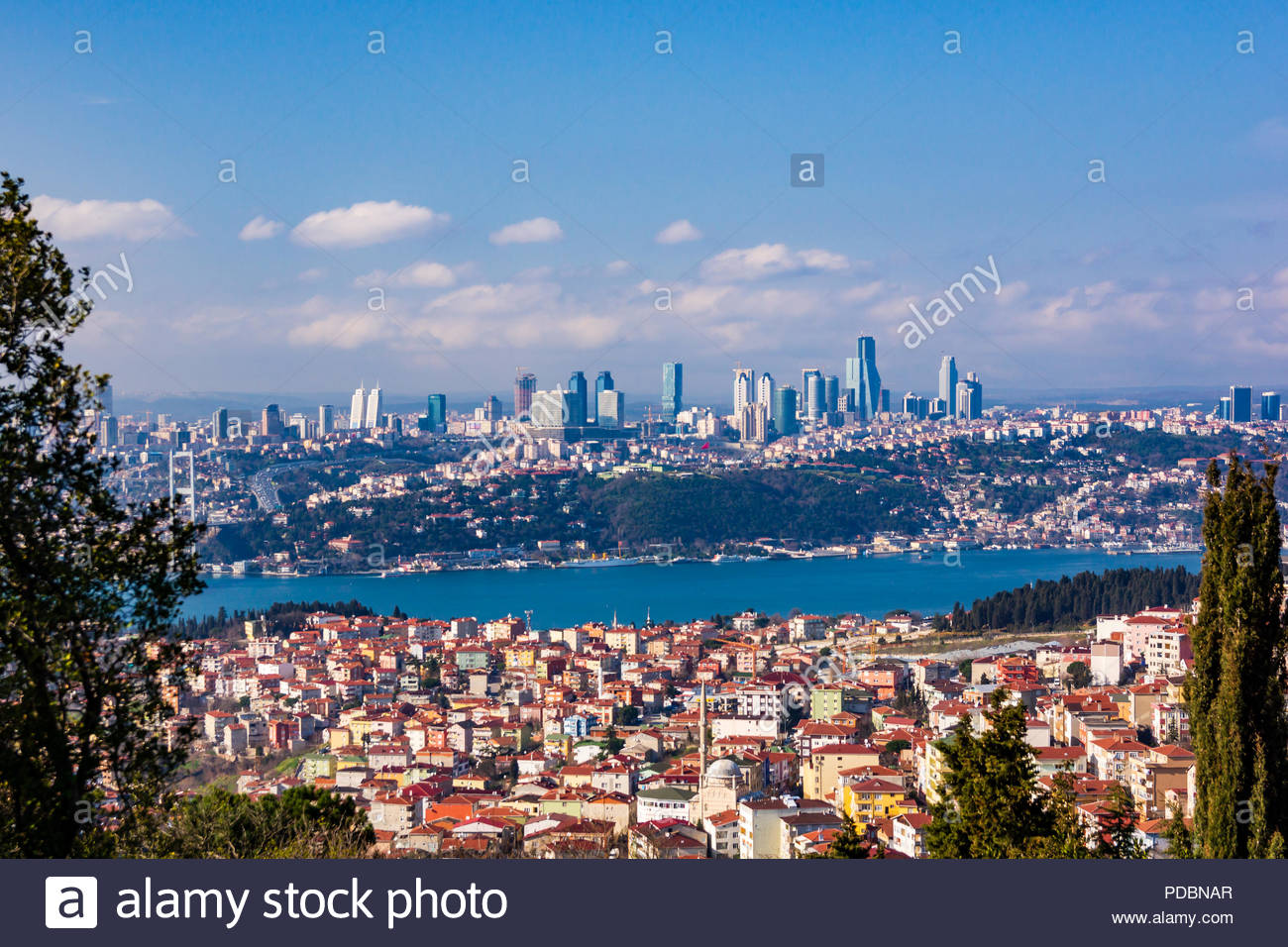 A view of the European side of Istanbul from a hilltop - Stock Image