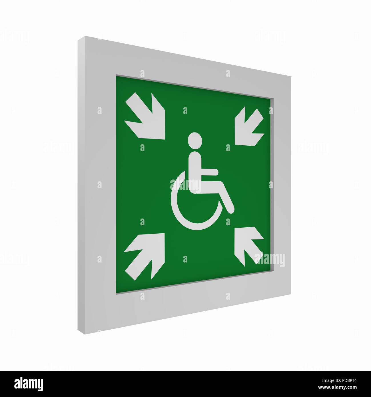 current escape signs according to ASR A1.3: provisional evacuation point. Side view, 3d rendering - Stock Image