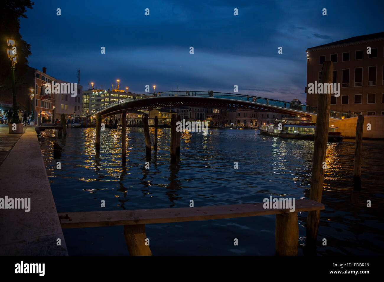 Ponte Della Costituzione Bridge in Venice at evening Stock Photo