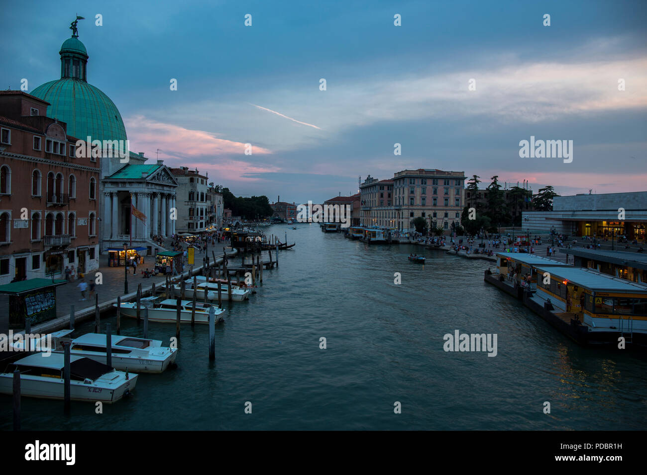 View from the Bridge - Ponte Degli Scalzi on the Grand Canal near the railway station in Venice Stock Photo