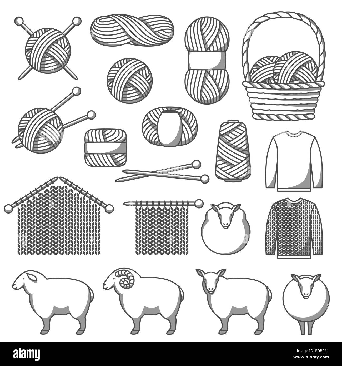 Set of wool items. Goods for hand made, knitting or tailor shop - Stock Vector