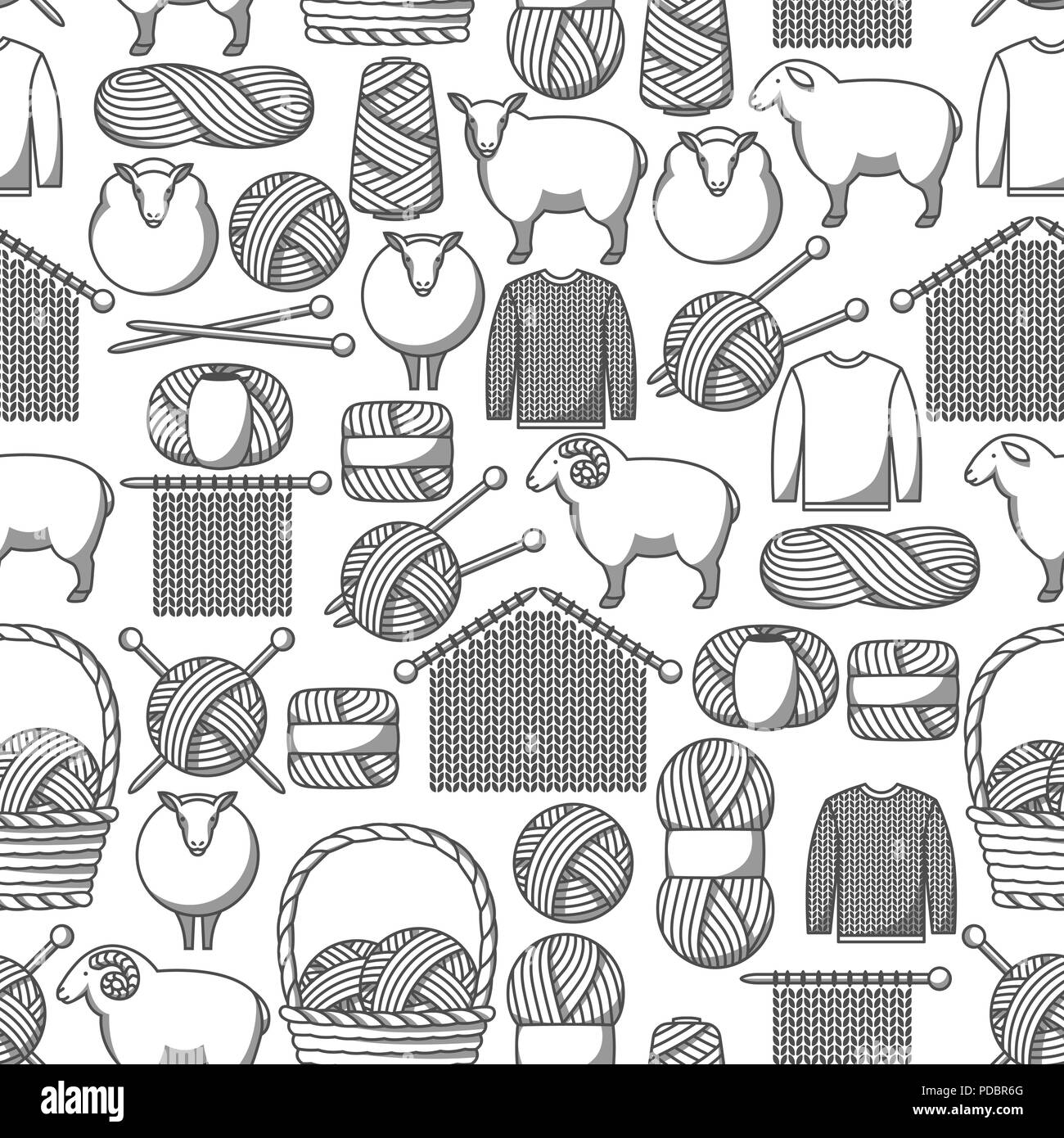 Seamless pattern with wool items. Goods for hand made, knitting or tailor shop - Stock Vector