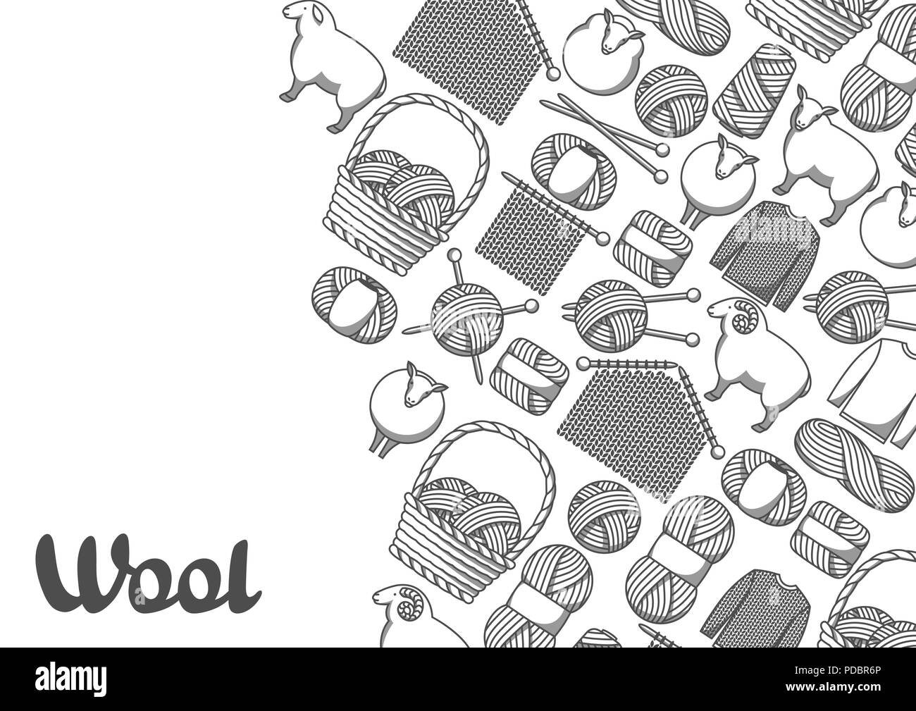 Background with wool items. Goods for hand made, knitting or tailor shop - Stock Vector