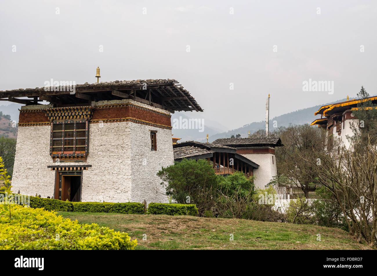 Entrance of Punakha Dzong, Bhutan - Punakha Dzong or Pungthang Dewachen Phodrang (Palace of Great Happiness) in Punakha, the old capital of Bhutan. - Stock Image