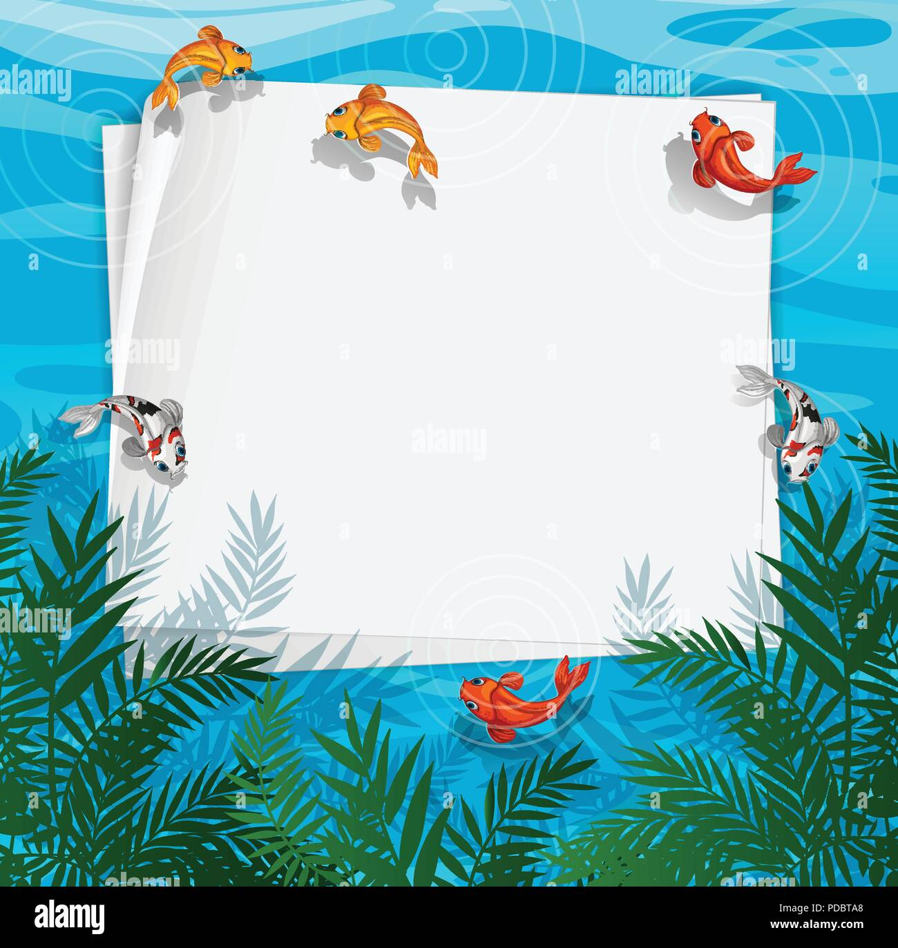 A fish pond frame illustration Stock Vector Art & Illustration ...